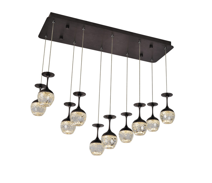 Coffee Stainless Steel 5W Crystal Wine Cup Pendant Light for Kitchen Design