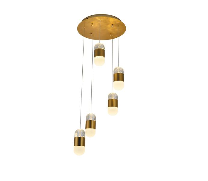 Aluminum Brushed Gold 10W Crystal Capsule Pendant Light