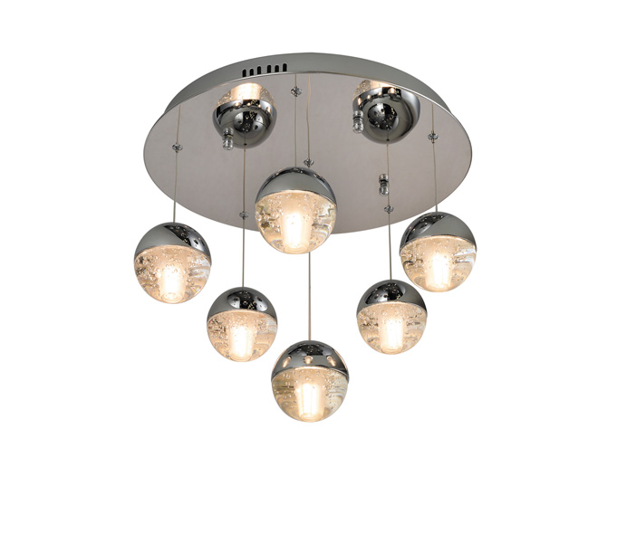 Brushed Brown Aluminum 5W Crystal Ball Pendant Lights