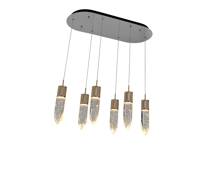 3W S Gold Aluminum Crystal Bar Pendant Lights