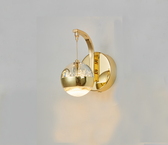 Hot Sale Round Crystal Ball 8W Gold Wall Sconce with Acrylic